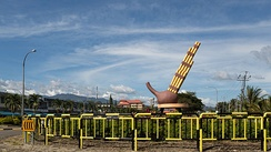 The roundabout in Tambunan with the sculpture of Sompoton, the main music instrument of Sabah.