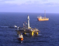 An oil platform in the Terra Nova oil field. A number of offshore oil developments lie off the coast of St. John's.