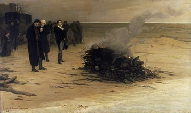 The Funeral of Shelley by Louis Édouard Fournier (1889); pictured in the centre are, from left, Trelawny, Hunt, and Byron. (As a matter of fact Hunt was not standing before the fire, he remained in his coach the entire time.)