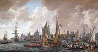 The arrival of King Charles II of England in Rotterdam, 24 May 1660 by Lieve Verschuier. King Charles II of England sailed from Breda to Delft in May 1660 in a yacht owned by the VOC. HMY Mary and HMY Bezan (both were built by the VOC) were given to Charles II, on the restoration of the monarchy, as part of the Dutch Gift.