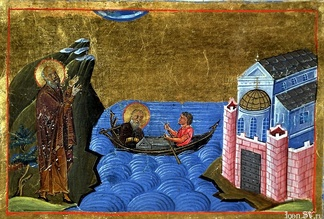 Theodore and the Stoudios Monastery in the Menologion of Basil II, illumination for the synaxarion about him (I-Rvat Cod. Vat. gr. 1613, p. 175)