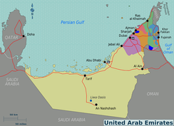 Map of the United Arab Emirates