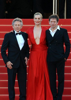 Roman Polanski, Emmanuelle Seigner and Mathieu Amalric promoting Venus in Fur at the Cannes Film Festival in 2013