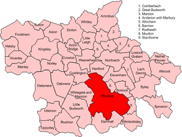 Map of civil parish of Winsford within the former borough of Vale Royal