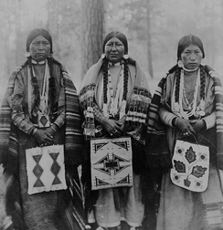 Three Native American women in Warm Springs Indian Reservation, Wasco County, Oregon. (1902)