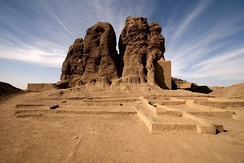 The large mud brick temple, known as the shrek or Western Deffufa, in the ancient city of Kerma