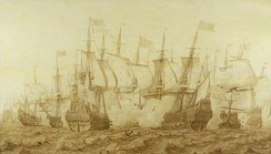 The Battle of the Gabbard, 12 June 1653 by Heerman Witmont, shows the Dutch flagship Brederode, right, in action with the English ship Resolution, the temporary name during the Commonwealth of HMS Prince Royal.
