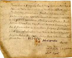 First diploma awarded by Yale College, granted to Nathaniel Chauncey in 1702