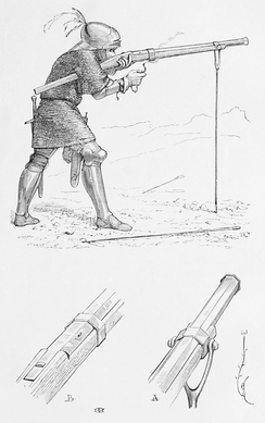 Depiction of an arquebus fired from a fork rest. Image produced in 1876