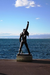 Statue of Mercury overlooking Lake Geneva in Montreux, Switzerland