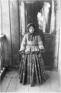Azerbaijani girl from Shusha in silk national garments.