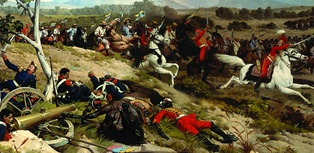 The charge of the Venezuelan First Division's cavalry at the Battle of Carabobo.
