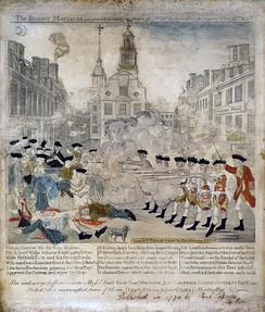 The Bloody Massacre Perpetrated in King Street Boston on March 5th, 1770, a copper engraving by Paul Revere modeled on a drawing by Henry Pelham,[24] 1770.