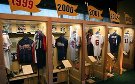 "Individual exhibits for the Braves' NL championship seasons as seen in the ""Atlanta"" exhibit"