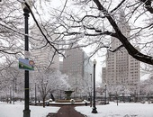 Burnside Park in Downtown Providence facing the city's primary row of high rises