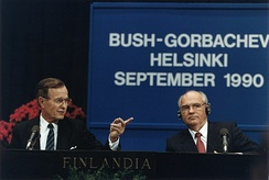 George H. W. Bush and Mikhail Gorbachev at the Helsinki summit in 1990