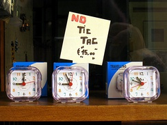 "A sign in a shop window in Italy proclaims these silent clocks make ""No Tic Tac"", in imitation of the sound of a clock."