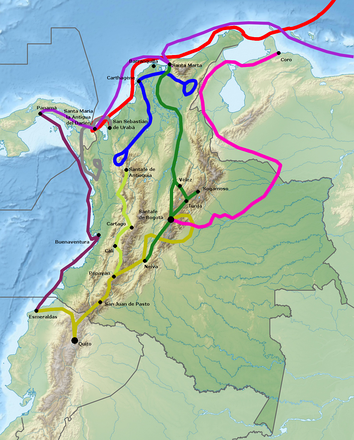 Juan de Céspedes formed part of the main expedition from the Caribbean coastal city of Santa Marta into the heart of the Colombian Andes, shown not entirely correctly in green