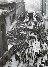 Crowd gathering on Wall Street (New York City) after the 1929 crash. The 1929 Wall Street Crash is often considered one of the worst stock market crashes in history. For good or bad,[22] the VOC-created quasi-casino stock market system has profoundly influenced the evolution of the global economy since the Dutch Golden Age.