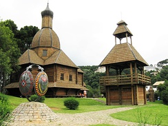 Traditional Ukrainian village architecture in Curitiba, Brazil, which has a large Ukrainian diaspora.