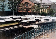 Scale model of Dutch trading post on display in Dejima, Nagasaki (1995)