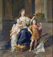The Duchess of La Ferté-Senneterre with the Duke of Anjou on her lap and the Duke of Brittany, 1710