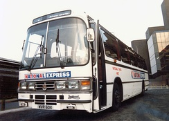 Duple Dominant bodied Leyland Tiger in Liverpool in 1982 in the original livery