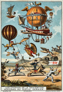 Utopian flying machines, France, 1890–1900 (chromolithograph trading card).