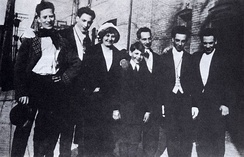 The only known photo of the entire Marx family, c. 1915. From left: Groucho, Gummo, Minnie (mother), Zeppo, Sam (father), Chico, and Harpo.