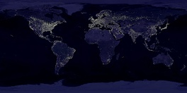 Rendering of lights on Earth's surface created using DMSP observations.