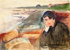 Melancholy, 1891, oil, pencil and crayon on canvas, 73 × 101 cm, Munch Museum, Oslo
