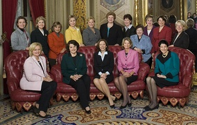 Female senators of the 110th Congress, Klobuchar standing, second from the right, January 2007