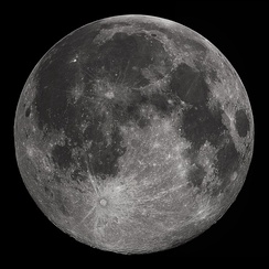 The full Moon of 22 October 2010, as seen through a 235mm (9.25in) Schmidt-Cassegrain telescope. This full Moon was near its northernmost ecliptic latitude (or northern lunistice), so the southern craters are especially prominent and cast shadows visible from Earth.