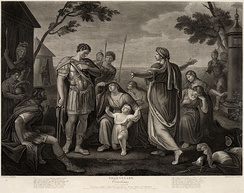 Coriolanus, Act V, Scene III. Engraved by James Caldwell from a painting by Gavin Hamilton.