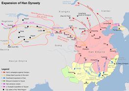 Map showing the expansion of Han dynasty in 2nd century BC.