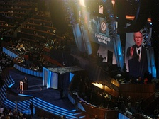 Reid speaks during the third night of the 2008 Democratic National Convention in Denver, Colorado.