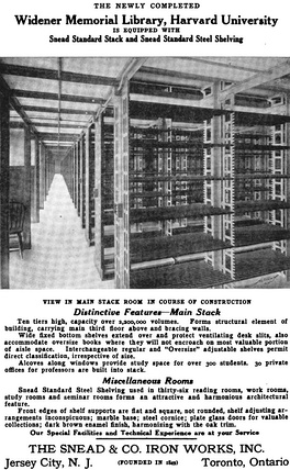 """The shelves are lost in the dark­ness above, and to either side they run off to in­fin­i­ty"", wrote Thomas Wolfe.[76] Each of the ten lev­els has some 187 rows of shelving.[62]:327"