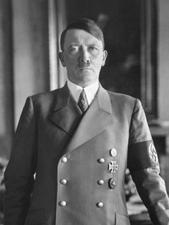 Adolf Hitler, whose beliefs about the development of the human species inspired the Ahnenerbe's research
