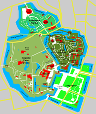 Map of the Tokyo Imperial Palace and surrounding Gardens showing the elaborate moat system