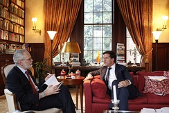 Mark Rutte prime minister of the Netherlands being interviewed by the Wall Street Journal