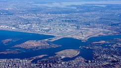 An aerial view of Arverne and Edgemere, Queens. The Edgemere Landfill is the small peninsula in the lower center, with John F. Kennedy Airport just to the north.