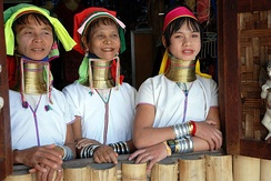 Kayan women in a village near Inle Lake, 2010.