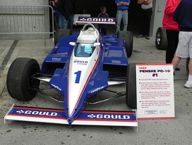 Car of Kevin Cogan on display at Indianapolis in 2013. It was restored to the livery used by Mears during the 1982 season, as the car was first used by Mears in Phoenix and Atlanta.
