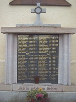 A memorial to soldiers who died in the two world wars. Dietelskirchen, Bavaria.