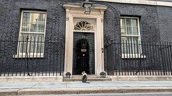 Main entrance of 10 Downing Street, the residence and offices of the First Lord of HM Treasury