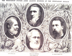 Francis William Newman (1805–1897), Isaac Pitman (1813–1897), William Gibson Ward (1819–1882), and John Davie (1800–1891) leading members of the Vegetarian Society