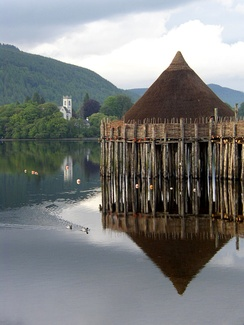 Reconstructed crannog on Loch Tay, Scotland