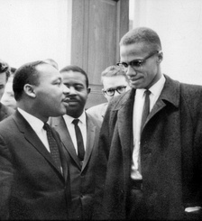 Martin Luther King Jr. and Malcolm X at the United States Capitol on March 26, 1964. Both had come to hear the Senate debate on the bill. This was the only time the two men ever met; their meeting lasted only one minute.[19]