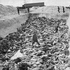 Fritz Klein, the camp doctor, standing in a mass grave at Bergen-Belsen after the camp's liberation by the British 11th Armoured Division, April 1945