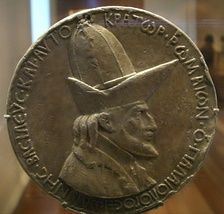 "Medal of the Emperor John VIII Palaiologos during his visit to Florence, by Pisanello (1438). The legend reads, in Greek: ""John the Palaiologos, basileus and autokrator of the Romans""."